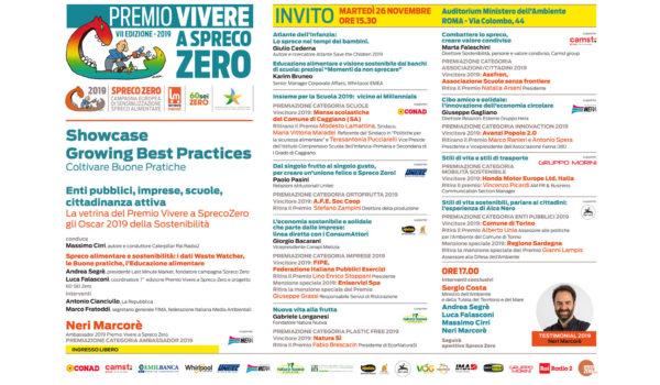 26 novembre 2019 PREMIO VIVERE A SPRECO ZERO