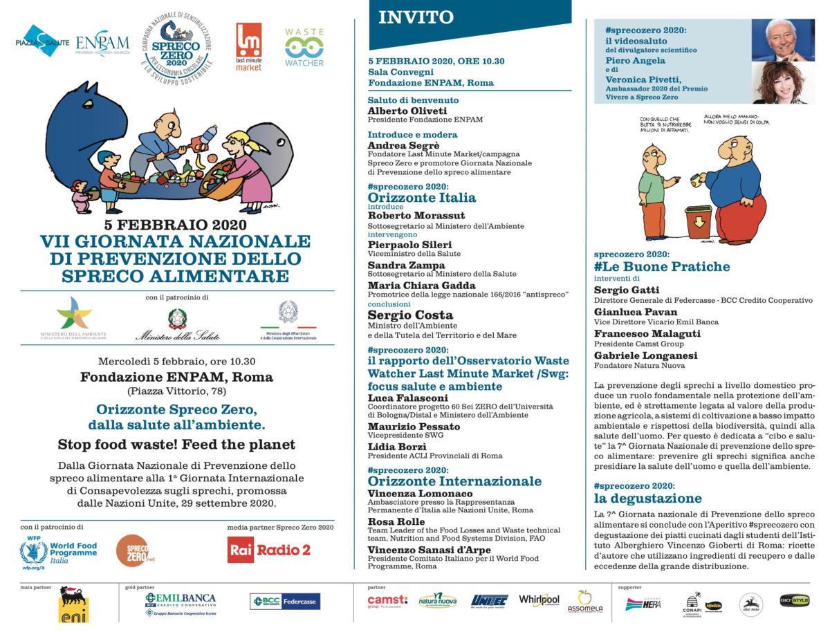 5 febbraio 2020 celebrazione VII Giornata Nazionale di Prevenzione dello spreco alimentare